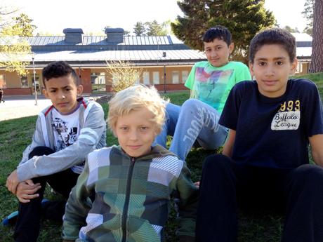 Ihab, Jonathan, Haman och Omar. Foto: Elisabet Jagell