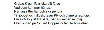 Grattishälsning från Gustav, 12.