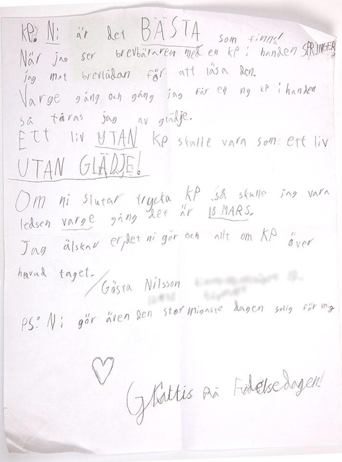 Grattishälsning från Gösta, 10.