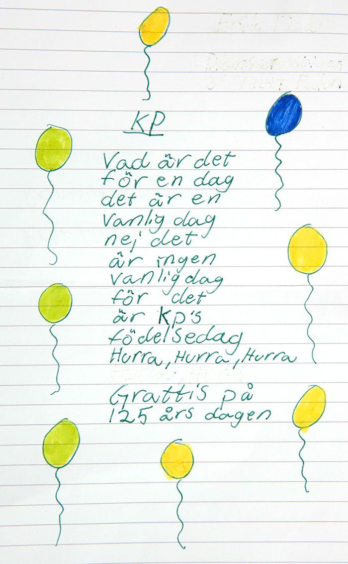 Grattishälsning från Erik, 12.