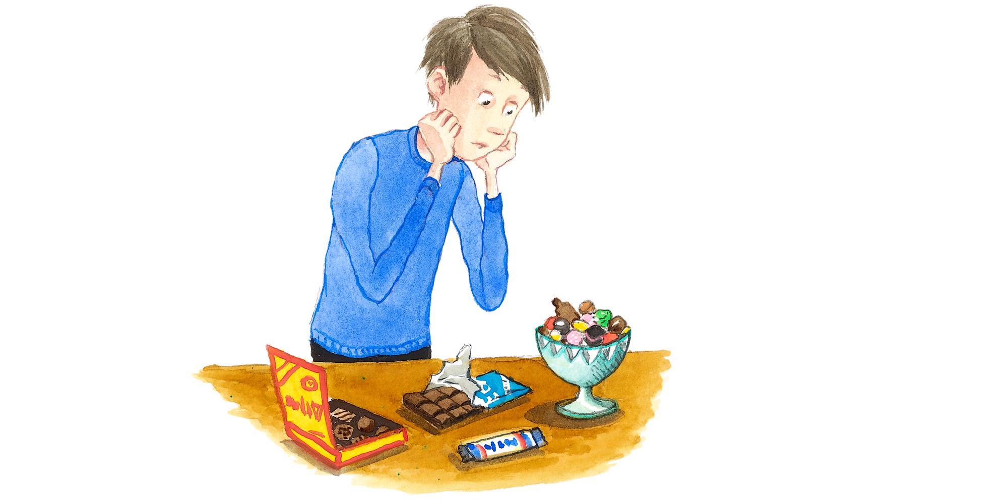 Det kan bli jobbigt när det finns flera sorters godis. Simon har svårt för att välja.
